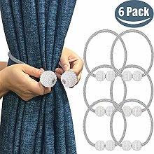 Melaluxe 6 Pack Magnetic Curtain Tiebacks,