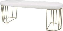 Melendez Metal Bench Canora Grey Upholstery: White