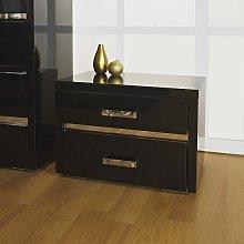 Melissa Black High gloss 2 Drawer Bedside Cabinet