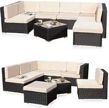 Melko Poly Rattan Seating Set Garden Set Rattan