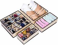 MELLIEX 4 Pack Underwear Drawer Organiser,