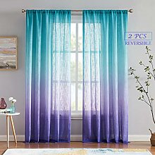 Melodieux Linen Textured Ombre Semi Sheer Curtains