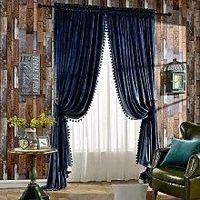 Melodieux Luxury Pom Poms Velvet Curtains for