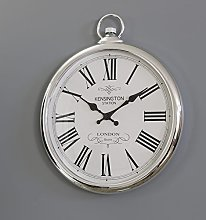Melody Maison Large Round Silver Wall Clock