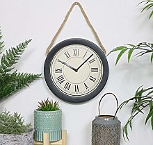 Melody Maison Round Black Clock with Rope