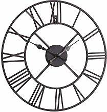 Melody Maison Rustic Black Skeleton Wall Clock