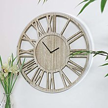 Melody Maison Rustic Wooden Skeleton Clock with