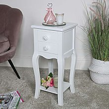 Melody Maison Slim White 2 Drawer Bedside Table -