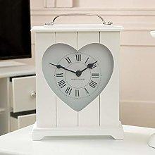 Melody Maison White Heart Wooden Mantel Clock