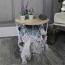 Melody Maison White Metal Wire Basket Wooden Top
