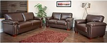 Memphis 3+2+1 Seater Leather Sofa Brown