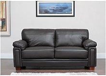 Memphis 3 Seater Leather Sofa Black
