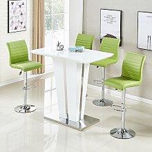 Memphis Glass Bar Table Gloss White 4 Ripple Lime