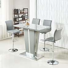 Memphis Glass Bar Table In High Gloss Grey And 4