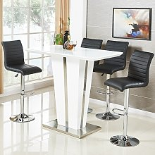 Memphis Glass Bar Table In High Gloss White And 4