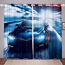 Men Race Sports Car Curtains Extreme Sports Theme