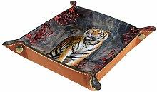 Men Women Valet Tray,Microfiber Leather Tray,Tiger