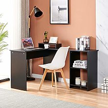 Menaka Wood Computer Desk Black with Shelves,