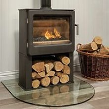 Mendip Ashcott Wood Burning Stove Log Store Glass