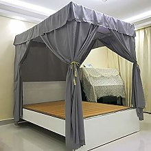 Mengersi Solid Four Corner Post Bed Curtain Canopy Mosquito Net for Adults(King,Gray)
