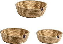 Mengmengda 3pcs Woven Storage Baskets Cotton Rope