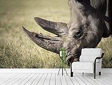 MENGRU Wallpaper 3D Mural Animal Rhinoceros 3D