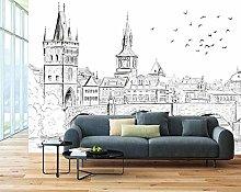 MENGRU Wallpaper 3D Mural City Seagull 3D Murals