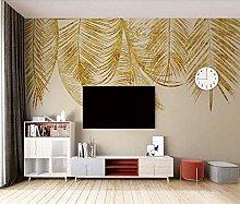 MENGRU Wallpaper 3D Mural Golden Leaves 3D Murals