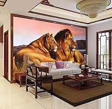MENGRU Wallpaper 3D Mural Grassland Lion 3D Murals