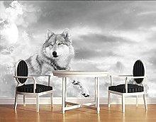 MENGRU Wallpaper 3D Mural Gray Wolf 3D Murals