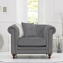 Mentor Fabric Sofa Chair In Grey Linen With Dark