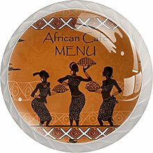 Menu for African Restaurant Set of 4 Drawer Knobs
