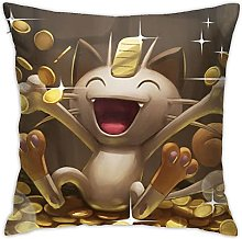 Meowth Square Pillowcase Soft Plush Living Room