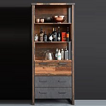 Merano Wooden Bar Cabinet In Old Wood With 3 Open