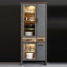 Merano Wooden Display Cabinet In Old Wood With LED