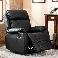Merax - Recliner Chair Leather Sofa Black