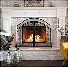 MERCB Black Hearth Fireplace Screen, Log Wood