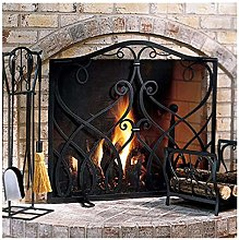 MERCB Black Small Fireplace Screen with Scroll