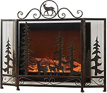MERCB Foldable Vintage Fireplace Screens with Elk