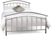 Mercury Metal King Size Bed In Pearl Silver