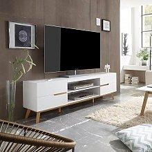 Merina Lowboard TV Stand In Matt White And Oak