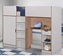 Merlin White and Oak Wooden High Sleeper Storage