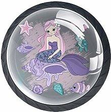 Mermaid Conch Gray 4 Pieces Crystal Glass Wardrobe