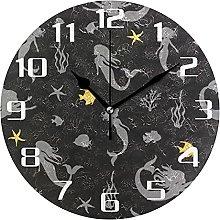 Mermaid Fish Starfish Wall Clock Silent Non