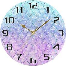 Mermaid Kawaii Rainbow Scales Wall Clock Silent