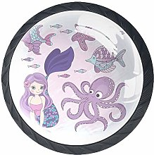 Mermaid Octopus White 4 Pieces Crystal Glass