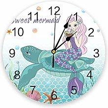 Mermaid Sea Turtle Silent Non Ticking Wall Clock,