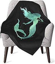 Mermaid Silhouette Watercolor Blocks Baby Blanket