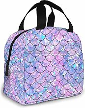 Mermaid Tail Galaxy Insulated Lunch Bag Portable