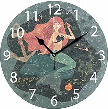 Mermaid with Anchor Round Wall Clock, Silent